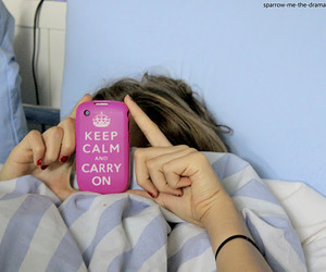 bed, keep calm and carry on, and tired image