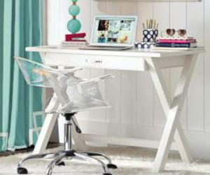 desk, interiors, and teal image