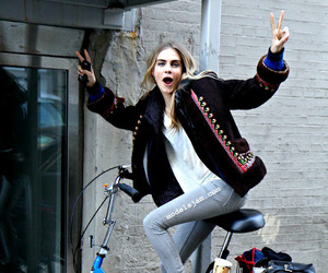 cara delevingne, model, and bike image