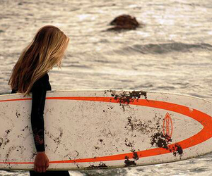 beach, girl, and waves image