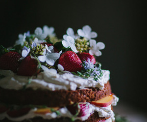 food, cake, and strawberry image