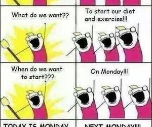 funny, diet, and monday image