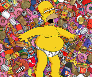 food, the simpsons, and homer image