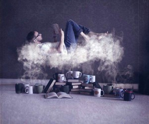 book, coffee, and clouds image