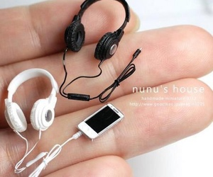 headphones, iphone, and miniature image