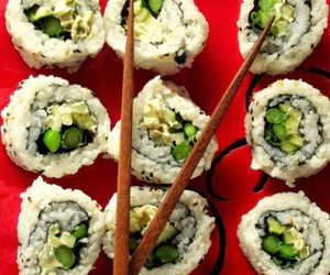 sushi, vegan, and healthy food image
