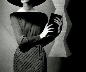 vintage, black and white, and hat image