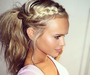 blonde, hairstyle, and pretty image