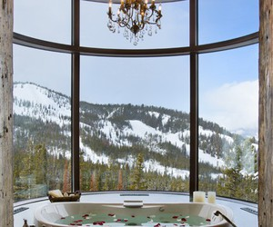 bathroom, mountains, and luxury image