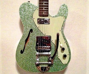 green, guitar, and glitter image