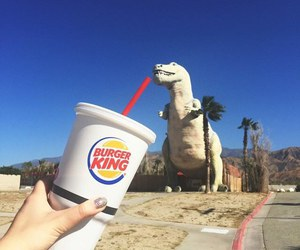 dinosaur, funny, and burger king image
