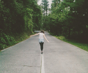 forest, girl, and highway image