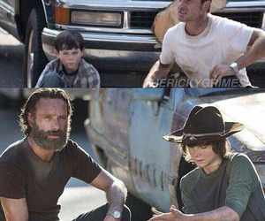 the walking dead, carl, and rick image