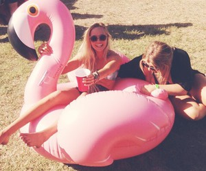 flamingo, girl, and summer image