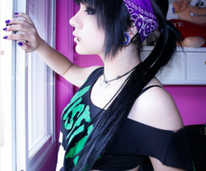 black hair, hair, and scene image