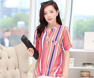 stripe t-shirt, korean fashion store, and stripe tops image