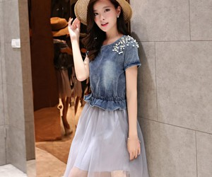 denim dress, asian clothing store, and dress with diamonds image