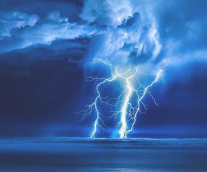 lightning, sky, and blue image
