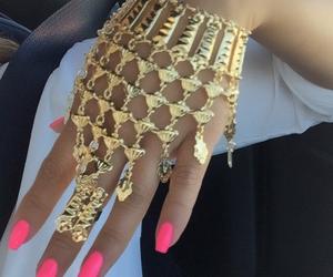 bracelet, nails, and gold image