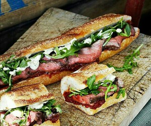 food, sandwich, and baguette image