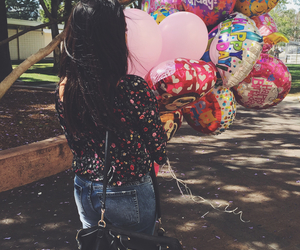 balloons, birthday, and female image