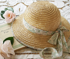 hat, pink, and flowers image