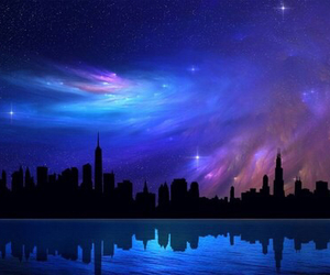 galaxy, blue, and city image
