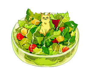 animation, salad, and cute image