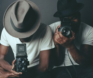 camera, hat, and style image