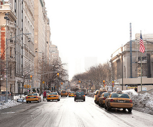 car, new york, and snow image