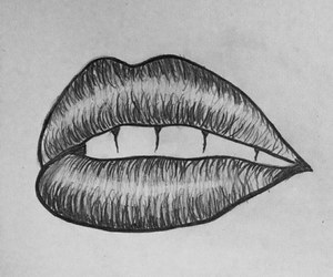 hipster, lips, and black and white image