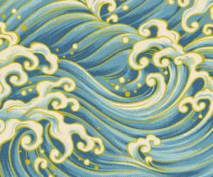 blue, wallpaper, and waves image