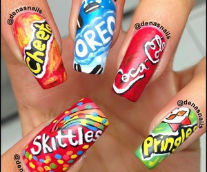 nails, oreo, and skittles image