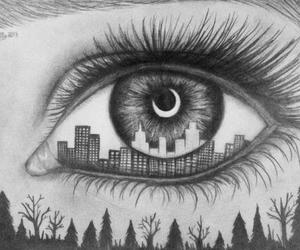 eye, city, and drawing image