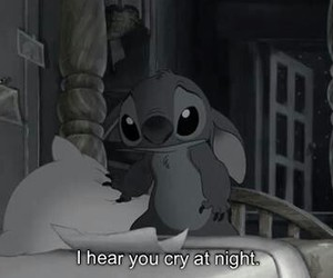 black and white, sad, and lilo and stich image