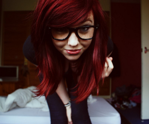 girl, redhead, and glasses image