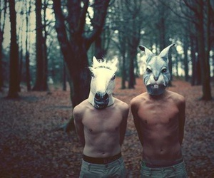 animal mask, forest, and guys image