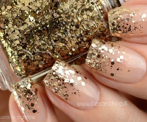 love, gold, and nails image