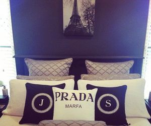 bedroom, Prada, and pillow image