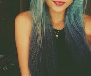 blue hair, ombre, and nose ring image