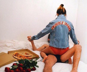 couple, flowers, and pizza image