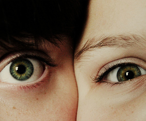 eyes, green, and couple image