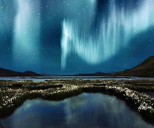 northern lights, landscape, and night image