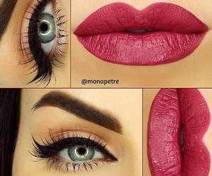 eyes, lips, and lipstick image