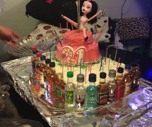 alcohol, 21st birthday, and barbie image