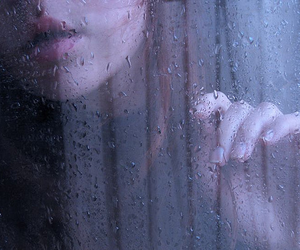 rain, girl, and drops image
