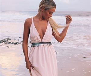 beach, dress, and blonde image