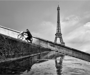 bike, black n white, and paris image