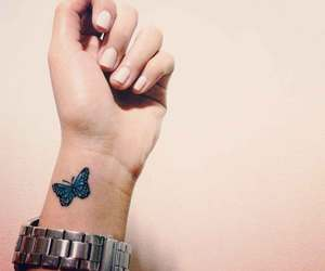 Tattoos, wrist, and butterfly image