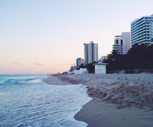 beach, sea, and city image